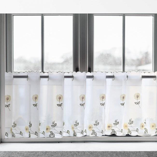 【三房兩廳】刺繡立體太陽花窗紗咖啡簾/窗簾/短簾/門簾(太陽花)