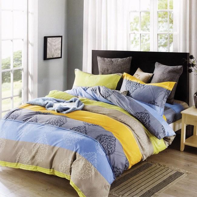 BUTTERFLY-柔絲絨條紋四件式兩用被床包組-敘情(加大)