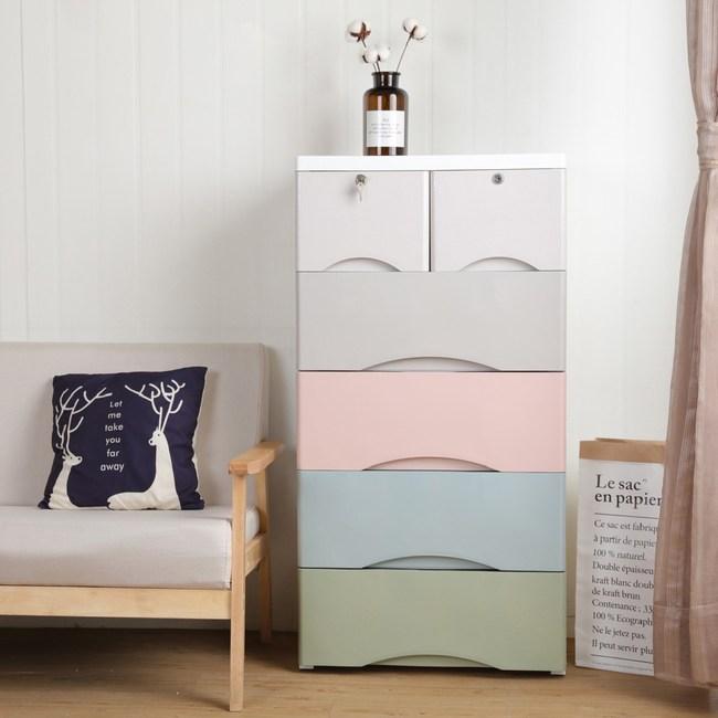 【IDEA】Rainbow粉嫩五層大面寬附鎖帶輪抽屜櫃/收納櫃彩虹