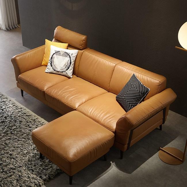 林氏木業北歐頭層牛皮三人皮沙發+腳凳(附抱枕)RAM1K-黃褐色