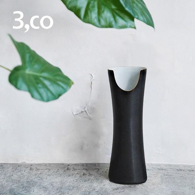 【3 co】管狀花器 E - 日本黑(白色內層)