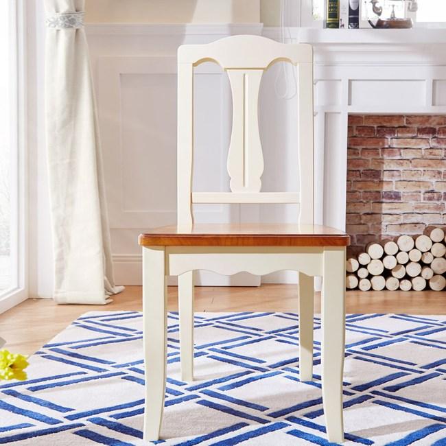 林氏木業美式小戶型餐椅 LSN1S-紅棕+米黃色