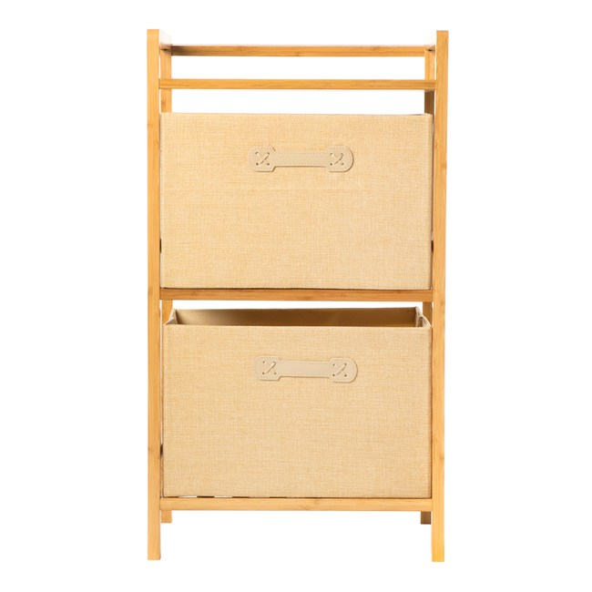 日式竹製布質收納櫃-米白色