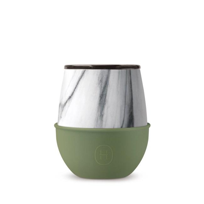 【HYDY】優雅蛋型杯 橄欖綠-大理石紋 (240ml)