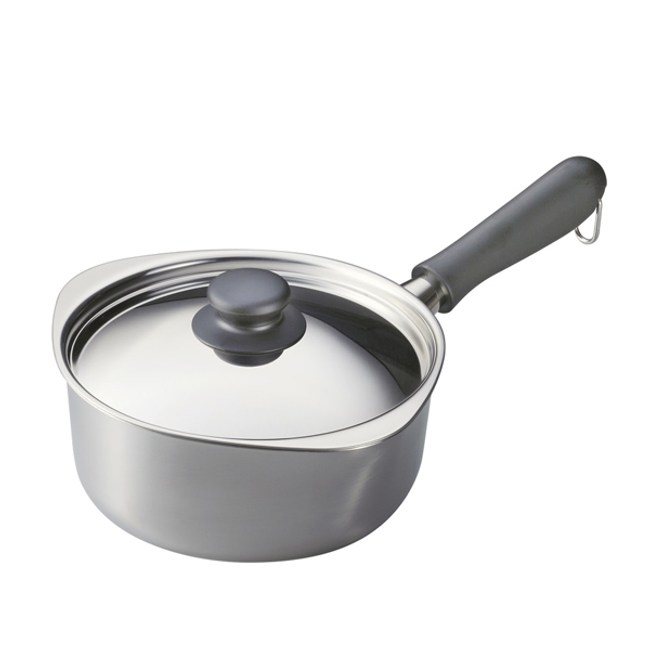 日本柳宗理 不銹鋼單手鍋(亮面•直徑18cm•附不銹鋼蓋)