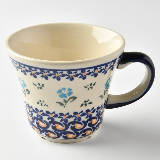 波蘭陶 青藍小花系列 寬口茶杯 240 ml 波蘭手工製