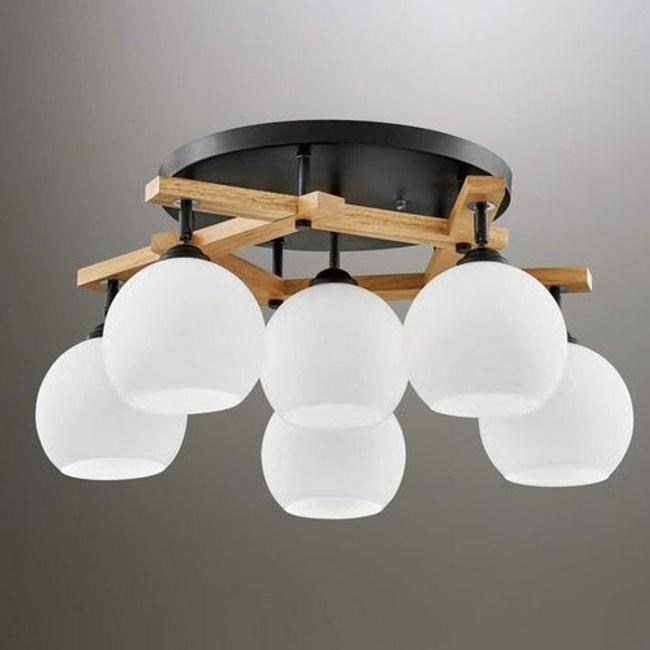 YPHOME  白玉玻璃5燈半吸頂燈 FB33714