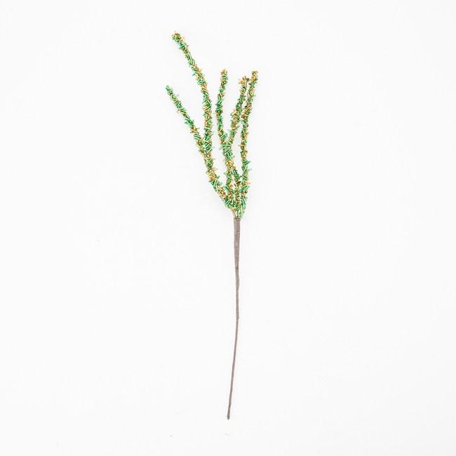 晶鑽珠串花枝 金綠 45cm