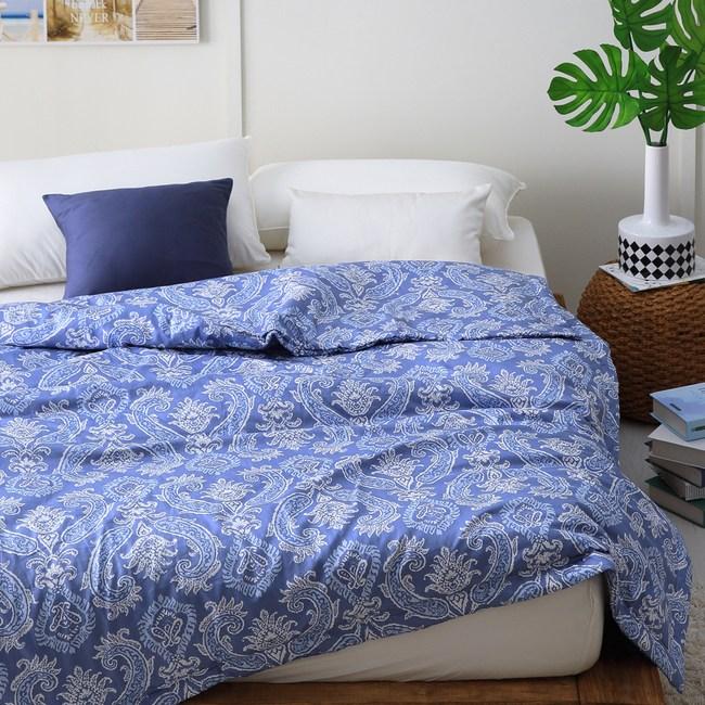 【Cozy inn】湛青-深藍-300織精梳棉-涼被(5X6尺)