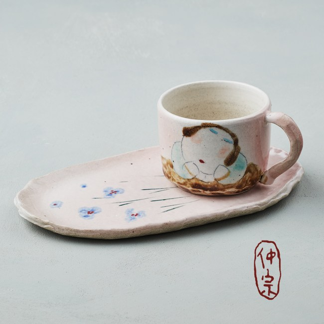 吳仲宗|胖太太系列 - 手做咖啡杯組 - 妃紅粉 (兩件式)