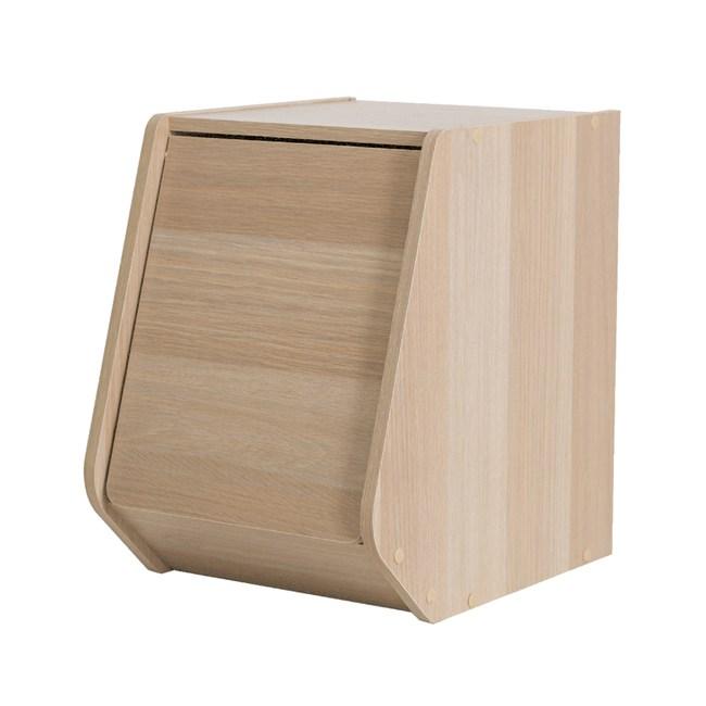 日本IRIS木質可掀門堆疊櫃W30H40-淺木色