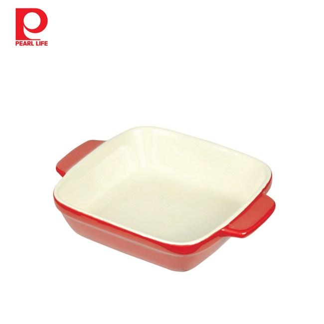 【日本珍珠金屬】方形耐熱深形焗烤盤-熱情紅14x14cm