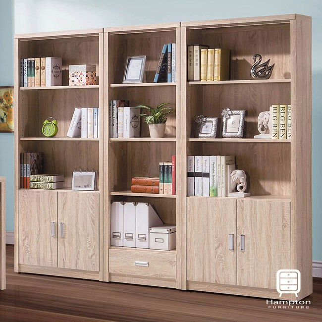 【Hampton 漢汀堡】蒂芙妮系列橡木色7.2尺書櫃組