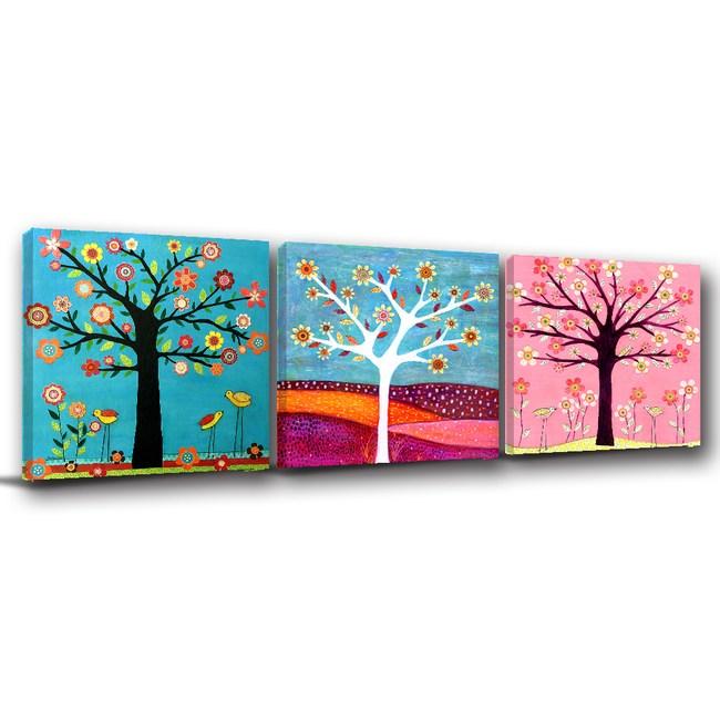 24mama掛畫-三聯式 北歐風 自然 植物樹木 手繪插畫無框畫-30x30cm