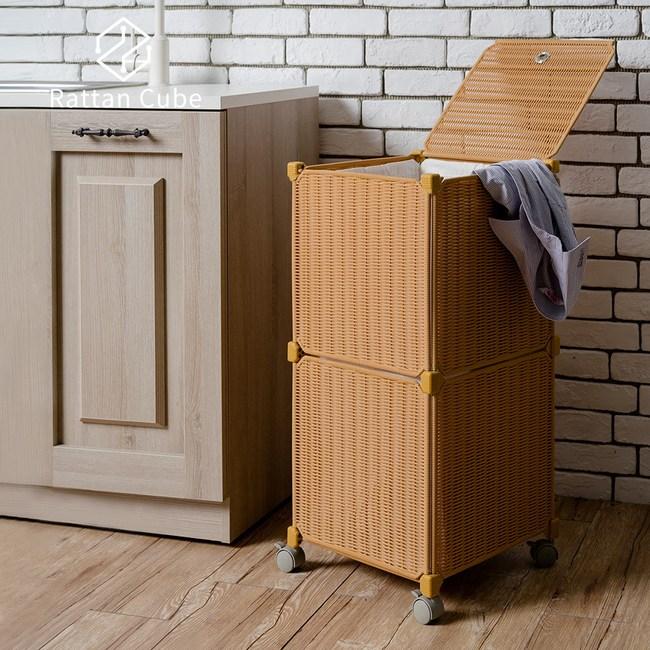 【藤立方】組合移動式洗衣籃 (附輪)-蜂蜜色-DIY