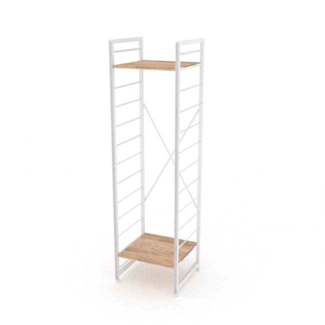 (組)特力屋萊特二層架白框/淺木紋-40x40x158cm