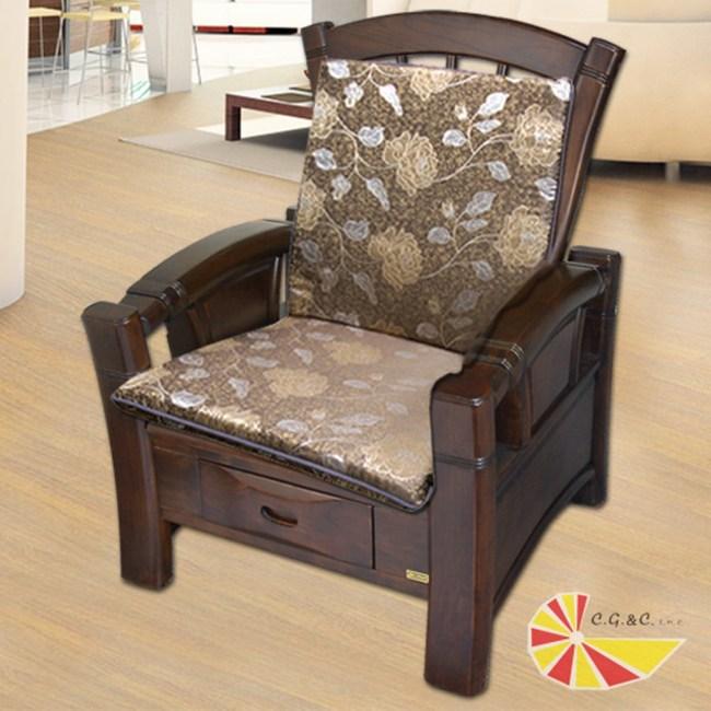 【凱蕾絲帝】木椅通-高支撐加厚連體L型坐墊(里昂玫瑰咖啡4入)