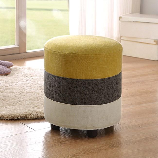 林氏木業 現代簡約仿棉麻透氣拼色小圓凳BI2H