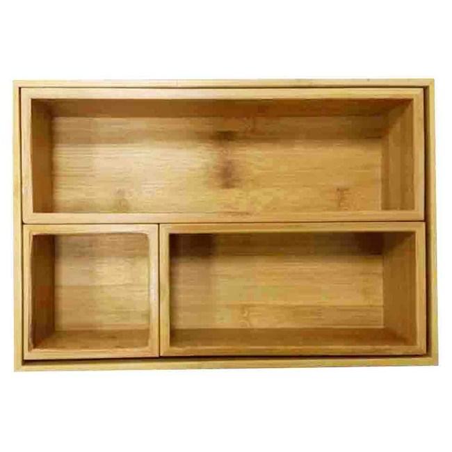 品木竹框儲物盒 四件組 H6014