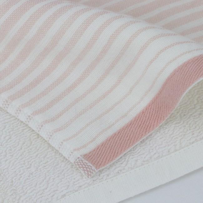 和風無撚紗布漸層方巾 粉 34x35cm