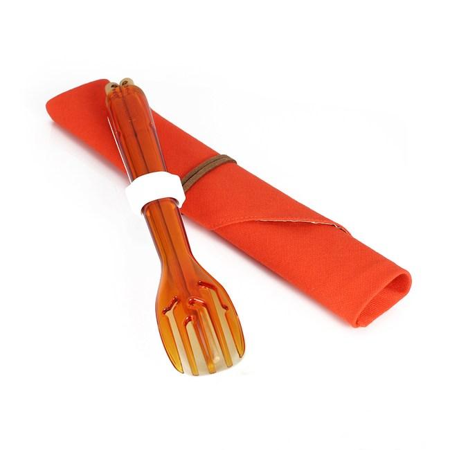 dipper│3合1環保餐具組-甜戀橘叉/陶瓷湯匙