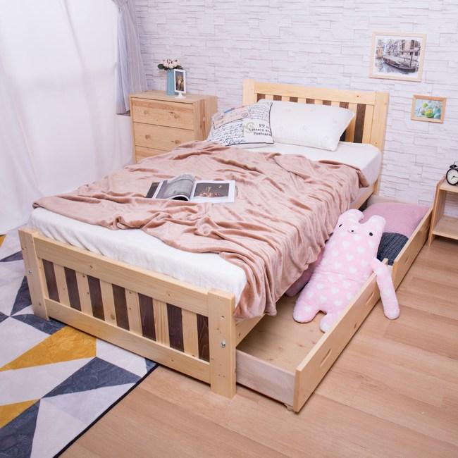【YFS】芝妮雅3.5尺雙色實木抽屜板床-107x196x91cm