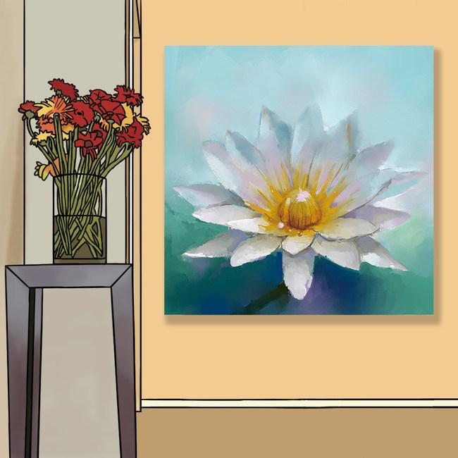 【24mama掛畫】單聯式 油畫布 無框畫 50x50cm-白蓮花油畫布無時鐘