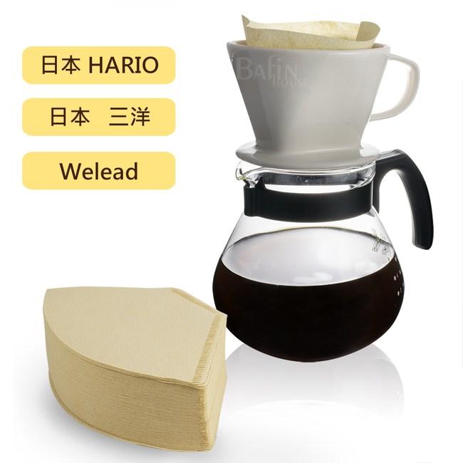 Hario & Welead 4人份陶瓷玻璃濾杯組(贈三洋102濾紙 100入)
