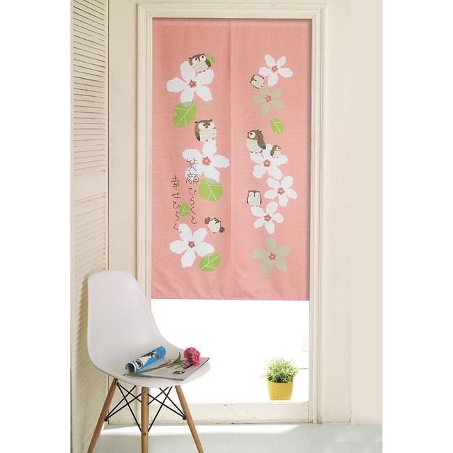 【三房兩廳】日式門簾-花上的貓頭鷹-85x150cm
