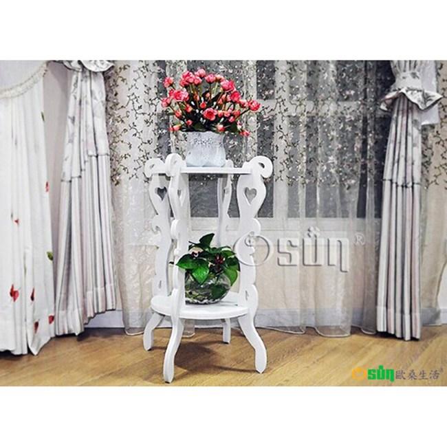 【Osun】DIY木塑板 白色雕花圓形花架(HJ001)