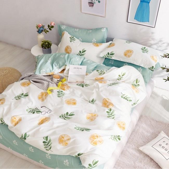 【eyah】100%寬幅精梳純棉單人床包雙人被套三件組-金黃橙果粒
