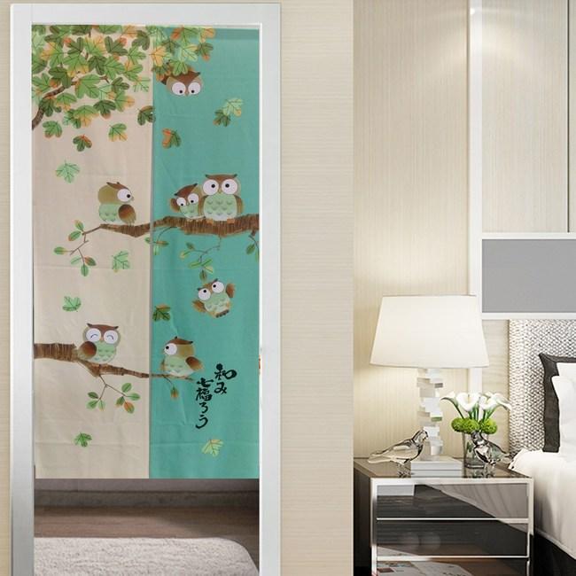 【三房兩廳】日式門簾-綠米底貓頭鷹-85x170cm