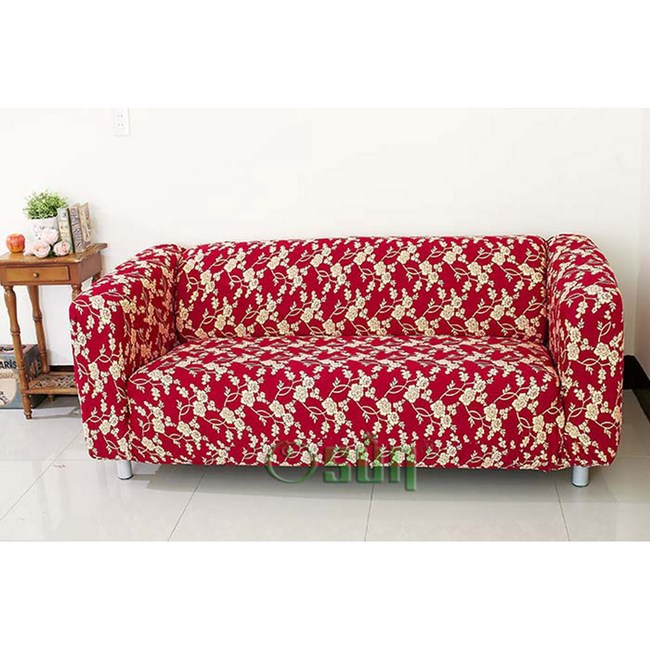 【Osun】圖騰系列-3人座一體成型防蹣彈性沙發套、沙發罩紅色金盞花