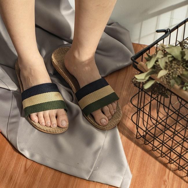 樂嫚妮 亞麻拖鞋 室內外居家拖鞋-男亞麻拖軍綠42-43