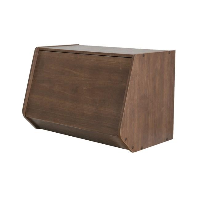 日本IRIS木質可掀門堆疊櫃W60H40-深木色