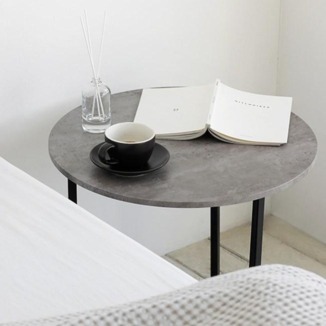 【MH家居】邊桌 邊几 諾迪北歐風圓形邊桌(灰岩黑)