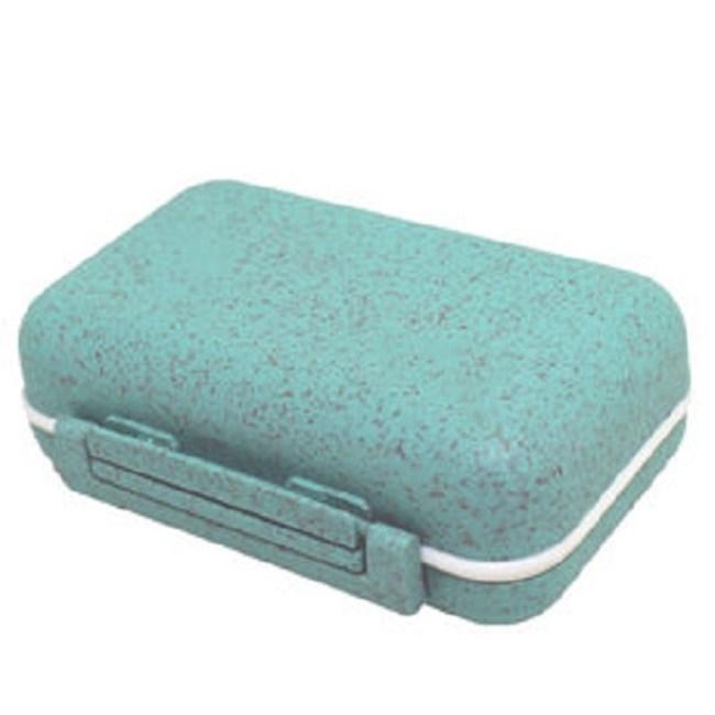 金德恩 稻穀纖維6格可拆式防潮保健盒藥盒 綠綠色