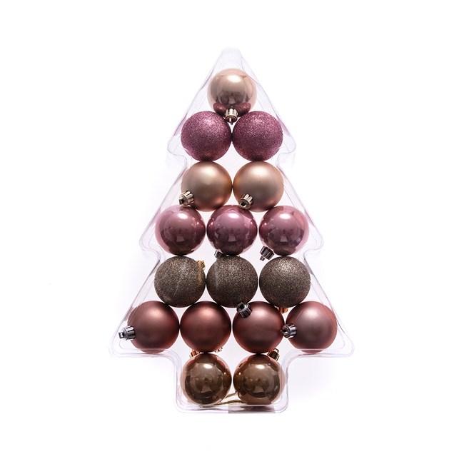 吊飾球17入組 粉紅/香檳金 6cm