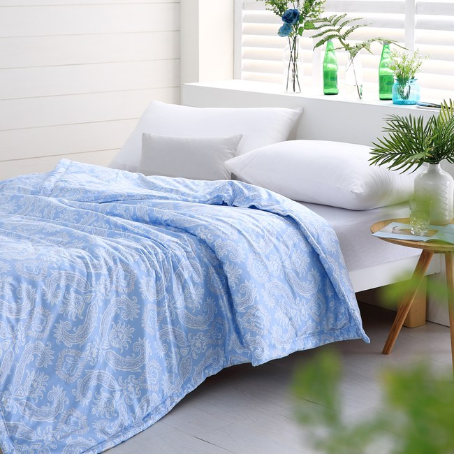 【Cozy inn】湛青-淺藍-300織精梳棉-涼被(5X6尺)