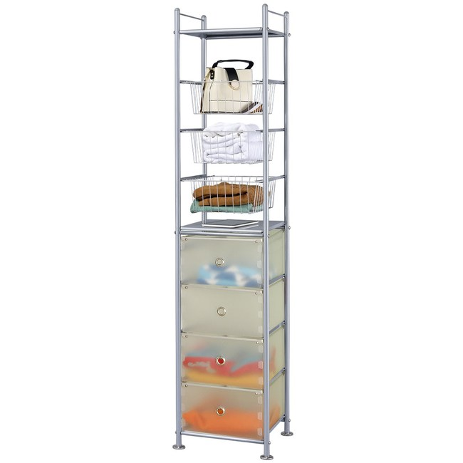巴塞隆納─3+4層收納置物籃架抽屜架(並附2個收納層板)