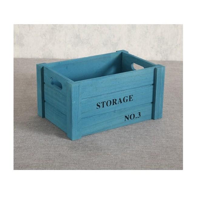 家居木質收納箱-(藍色)小