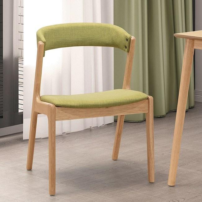 漢瑞本色綠布餐椅