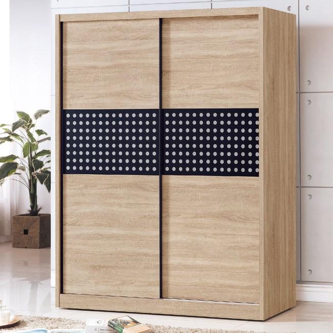 【YFS】艾蜜莉橡木5x7推門衣櫥-151x60x197cm(附內鏡)