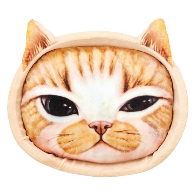【MARUKAN】貓臉寫真印花貓窩-黃(CT-340)