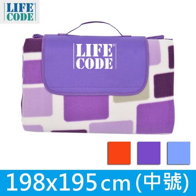 LIFECODE絨布加厚野餐墊(中號198x195cm)-紫格子