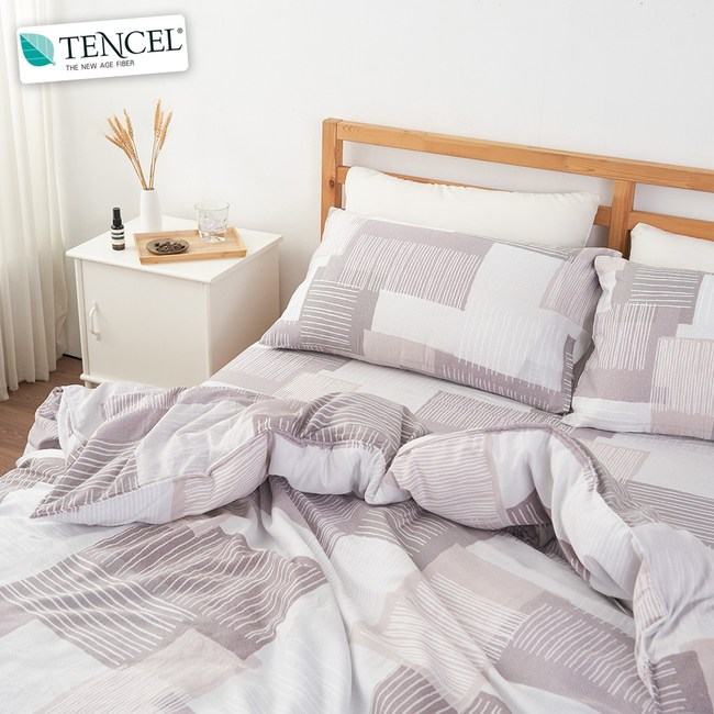 【BELLE VIE】40支純天絲雙人床包兩用被四件組-時尚格調