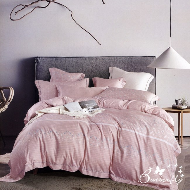 【BUTTERFLY】MIT-3M專利+頂級天絲-加大雙人薄床包枕套組-執著-粉