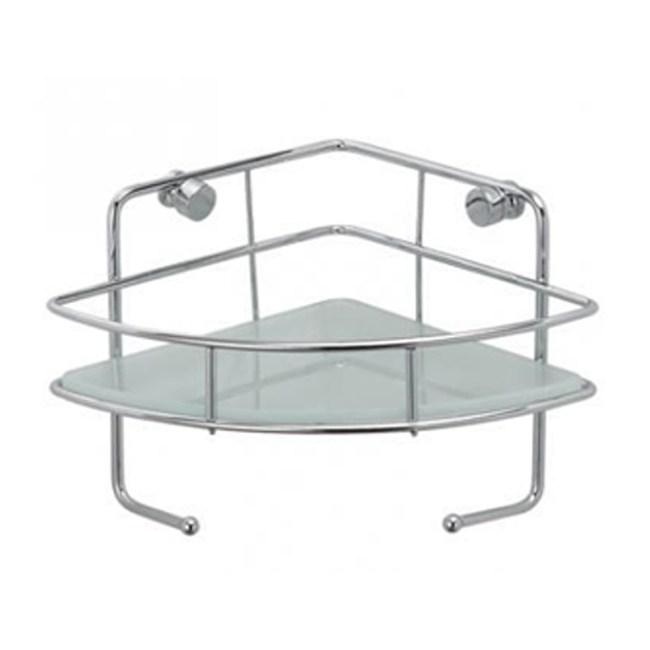 不鏽鋼玻璃轉角單層置物架