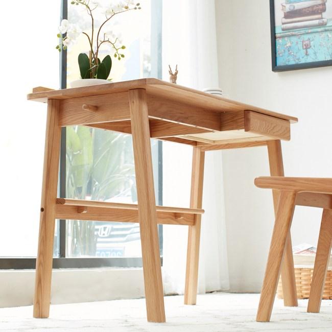 原木日式和風白橡木實木0.9M單抽插線孔書桌w0902