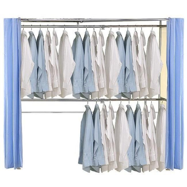 巴塞隆納─AH-07伸縮衣櫥 前布簾水藍色不織布
